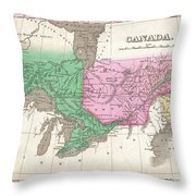 1827 Finley Map Of Canada  Throw Pillow