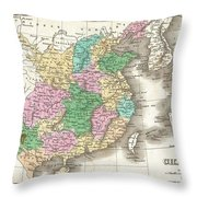 1827 Finley Map Of China  Throw Pillow
