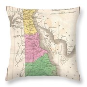 1827 Finley Map Of Delaware Throw Pillow