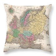 1827 Finley Map Of Europe Throw Pillow