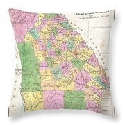 1827 Finley Map Of Georgia Throw Pillow