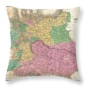 1827 Finley Map Of Germany Throw Pillow