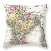 1827 Finley Map Of India  Throw Pillow