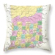 1827 Finley Map Of Indiana Throw Pillow
