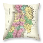 1827 Finley Map Of Israel  Palestine Holy Land Throw Pillow