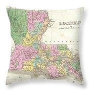 1827 Finley Map Of Louisiana Throw Pillow
