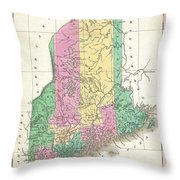 1827 Finley Map Of Maine Throw Pillow