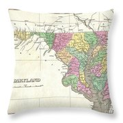 1827 Finley Map Of Maryland Throw Pillow