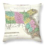 1827 Finley Map Of Massachusetts Throw Pillow