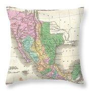1827 Finley Map Of Mexico Upper California And Texas Throw Pillow