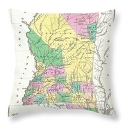 1827 Finley Map Of Mississippi Throw Pillow
