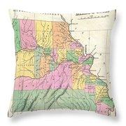 1827 Finley Map Of Missouri Throw Pillow