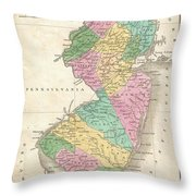 1827 Finley Map Of New Jersey  Throw Pillow