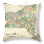 1827 Finley Map Of New York State Throw Pillow