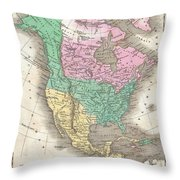 1827 Finley Map Of North America Throw Pillow