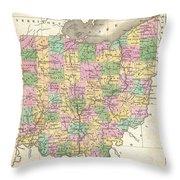 1827 Finley Map Of Ohio Throw Pillow
