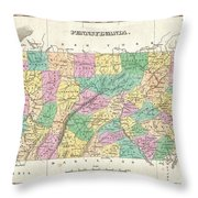 1827 Finley Map Of Pennsylvania Throw Pillow