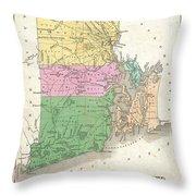 1827 Finley Map Of Rhode Island Throw Pillow