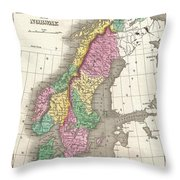 1827 Finley Map Of Scandinavia Norway Sweden Denmark Throw Pillow