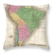 1827 Finley Map Of South America Throw Pillow