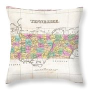 1827 Finley Map Of Tennessee Throw Pillow