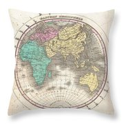 1827 Finley Map Of The Eastern Hemisphere  Throw Pillow
