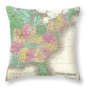 1827 Finley Map Of The United States Throw Pillow