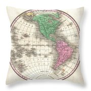 1827 Finley Map Of The Western Hemisphere Throw Pillow