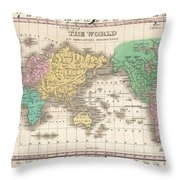 1827 Finley Map Of The World Throw Pillow