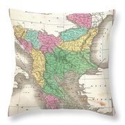 1827 Finley Map Of Turkey In Europe Greece And The Balkans Throw Pillow