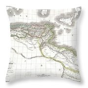 1829 Lapie Historical Map Of Empire Of Carthage Throw Pillow
