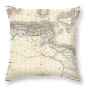 1829 Lapie Historical Map Of The Barbary Coast In Ancient Roman Times Throw Pillow