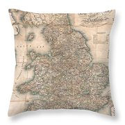 1830 Pigot Pocket Map Of England And Wales Throw Pillow