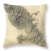 1831 Depot De La Marine Nautical Chart Or Map Of Martinique West Indies Throw Pillow