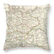 1832 Delamarche Map Of Germany In Roman Times Throw Pillow