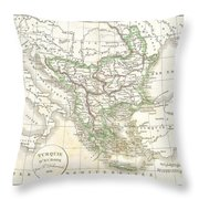 1832 Delamarche Map Of Greece And The Balkans Throw Pillow