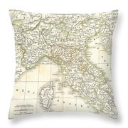 1832 Delamarche Map Of Northern Italy And Corsica Throw Pillow