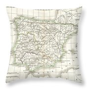 1832 Delamarche Map Of Spain And Portugal Under The Roman Empire  Throw Pillow
