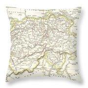 1832 Delamarche Map Of Switzerland Throw Pillow