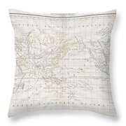 1832 Malte Brun Map Of The World On Mercator Projection Throw Pillow