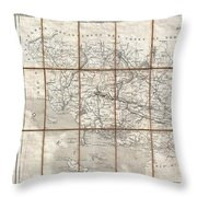 1833 Charle Map Of The Dept Of Morbihan Bretagne France Throw Pillow
