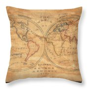 1833 School Girl Manuscript Wall Map Of The World On Hemisphere Projection  Throw Pillow