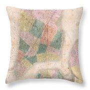 1835 David Burr Map Of New York City Throw Pillow