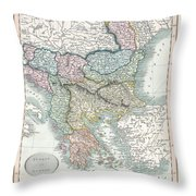 1836 Cary Map Of Greece And The Balkans Throw Pillow