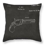 1836 First Colt Revolver Patent Artwork - Gray Throw Pillow