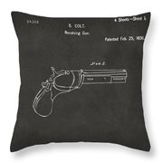 1836 First Colt Revolver Patent Artwork - Gray Throw Pillow