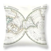 1838 Bradford Map Of The World On Polar Projection Throw Pillow