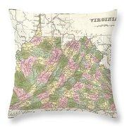 1838 Bradford Map Of Virginia Throw Pillow