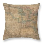 1839 Burr Wall Map Of The United States  Throw Pillow