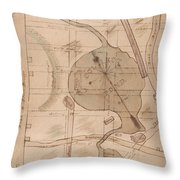 1840 Manuscript Map Of The Collect Pond And Five Points New York City Throw Pillow